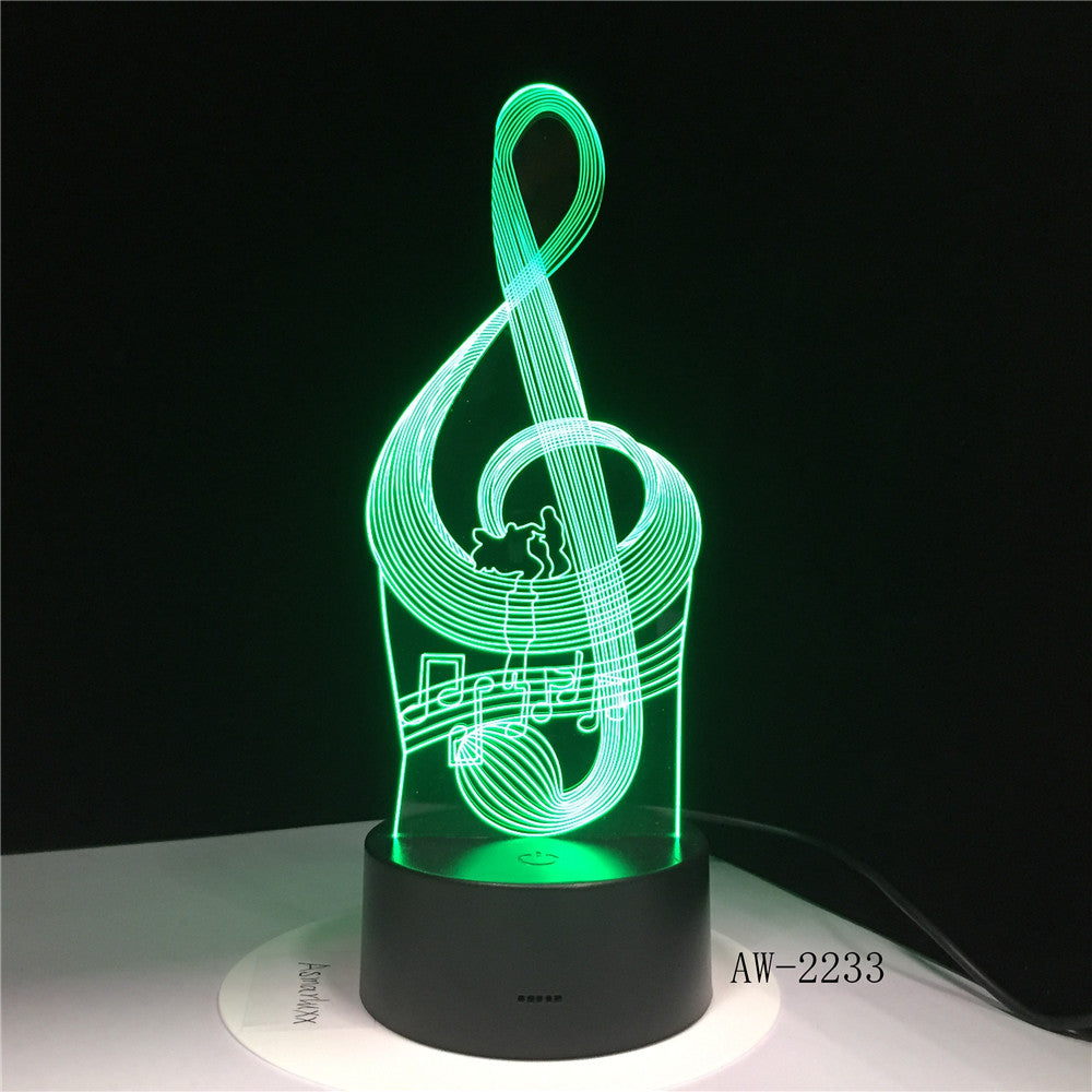 Music Cool Note Bass 3D LED LAMP NIGHT LIGHT for Musicians Home Table Decoration Birthday Christmas Present Gift AW-2233