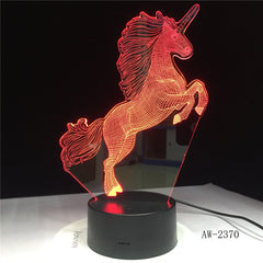 Horse Model 3D LED Lamp Small Night Light 7 Color Change USB Touch Switch Indoor Atmosphere Lamp Bedroom Decoration Li AW-2370