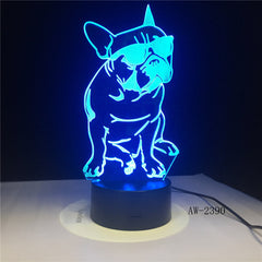 Cute Dog Illusion 3D Led Lamp LED 7 Color Change Touch Led 3D Night Light Kids Lampara Baby Sleeping Party Decor Light AW-2390