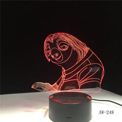 7 Colors Changing 3D Bulbing Light Sloth illusion LED lamp Creative Action Figure Toy Christmas Gift Drop Shipping AW-248