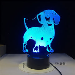 Dog Cute Baby Bedroom Lamps Night Light Cartoon Plastic Sleeping LED Kids 3D Lamp Nightlight with 7 Colors Bedroom Deco AW-2658