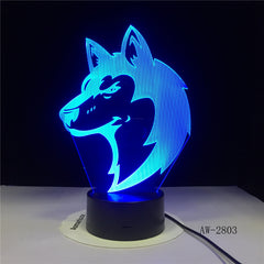 Horse-Head Desgin 3D Night Lamp Changing Nightlight Atmosphere Light 3D Mood Touch Lamp Home Decor Office Light AW-2803