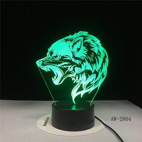 Wolf Head 3D LED Lamp Night Light USB LED Illusion Atmosphere Vision Table Lamp for Children Bedroom Decoration Novelty Gift2804