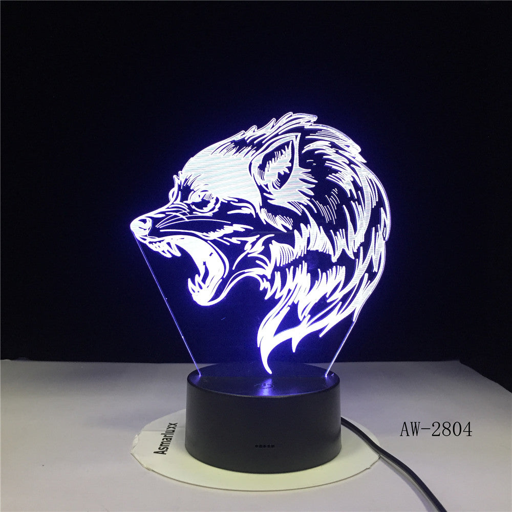 Fierce Wolfs 3D Head Table Lamp LED USB Creative Baby Sleep Night Light Bedside Light Fixture Bedroom Decor Kids Gifts AW-2804