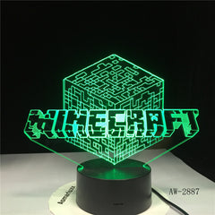 Minecraft Game Hihecraft Surrounding Character Prototype 3D LED Lamp Plug in Lamp 7 Colors Home Decor Drop Shipping AW-2887