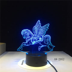 Novelty 3D LED Desk Lamp Flying Horse Steed Night Light USB Remote Home Decro Christmas Gift for Kids Baby Sleep Lamp 2952