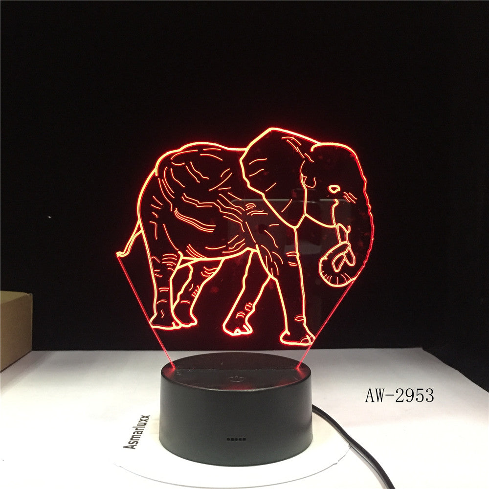Cute 3D Illusion Elephant Lamp LED Night Lights with 7 Colors Lamp as Home Decoration Cute Gifts for Boys Girls 2953