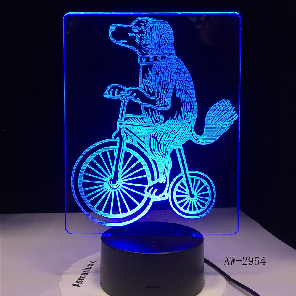 New Dog Riding 3D Lampen 7 Color USB Night Lamp LED for Kids childs Birthday Creative Bedside Decor Tafellamp Gift 2954