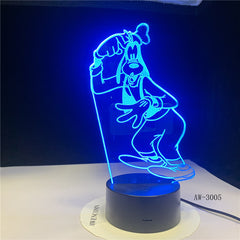 Children's Gift Goofy Pluto Dog Novelty 7 Color Changing 3D LED Night Light Desk Lamp Home Decor Party Kids Toys Gift 3005