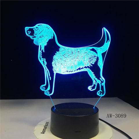 Pet Dog 3D Night Lamp 7 Color Change Touch Led 3D Night Light Bedroom Decoration Light USB Office Desk lamp AW-3089