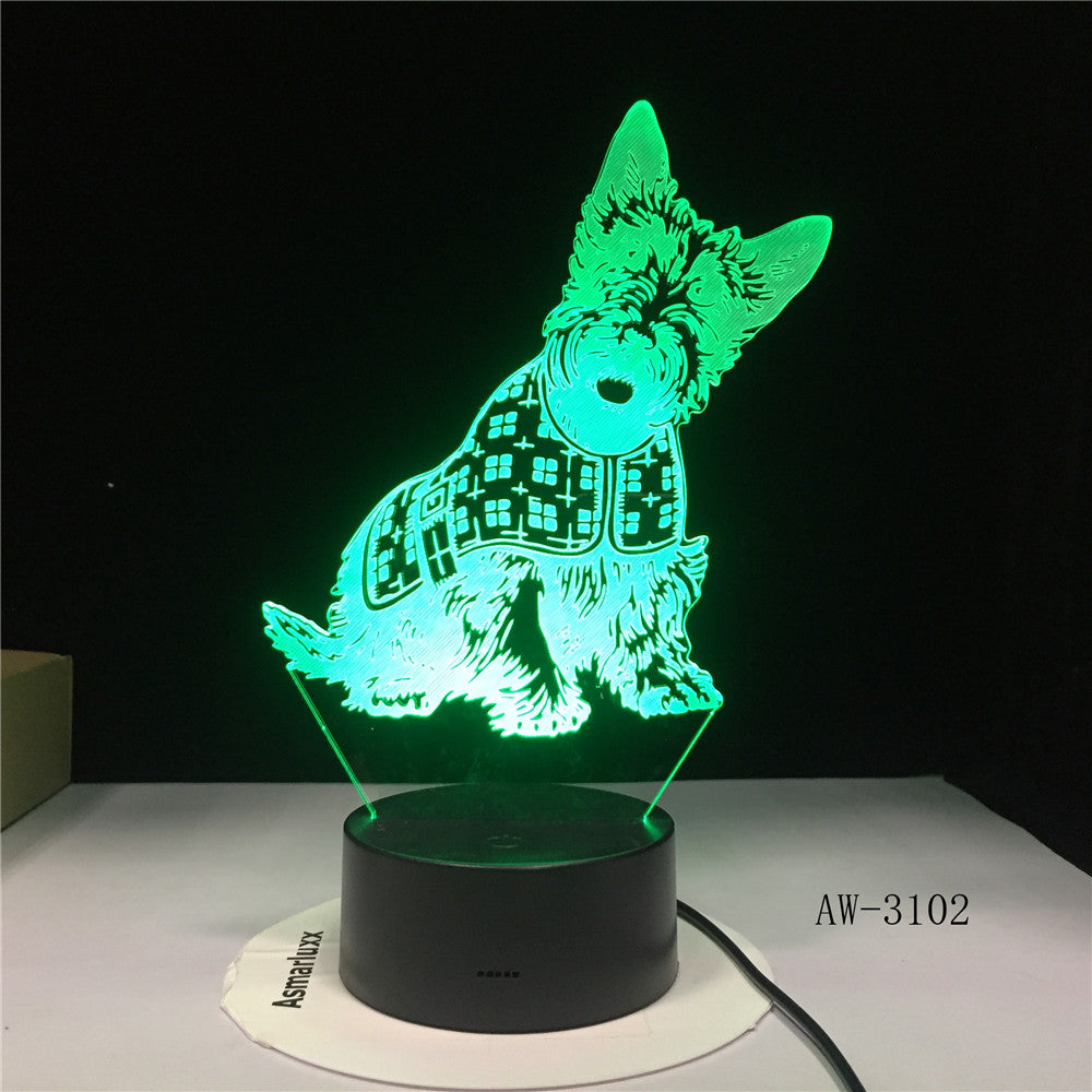 3D Lovely Spot Dog Night Lights LED USB 7 Colors Sensor Desk Lamp Novelty 3D Table Lamp Friends Kids Birthday Gift Light AW-3102