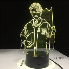 3D Harry Potter Night Light Hogwarts Discoloration Magic School LED Lamp Luminaria Bedroom Decor Linternas Table Lamp AW-3192