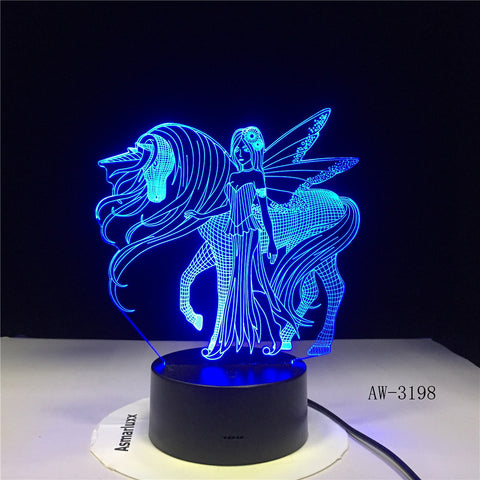 3D LED Night Light for Fairy Wings Unicorn and Girl with 7 Colors Light for Home Decoration Horse Lamp 3198