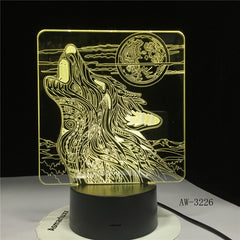 Wolf Roaring Moon 3D Led Lamp Nightlight USB Operated Night Light Lamp Visual Light Effect Gift for Teenager luminari 3226