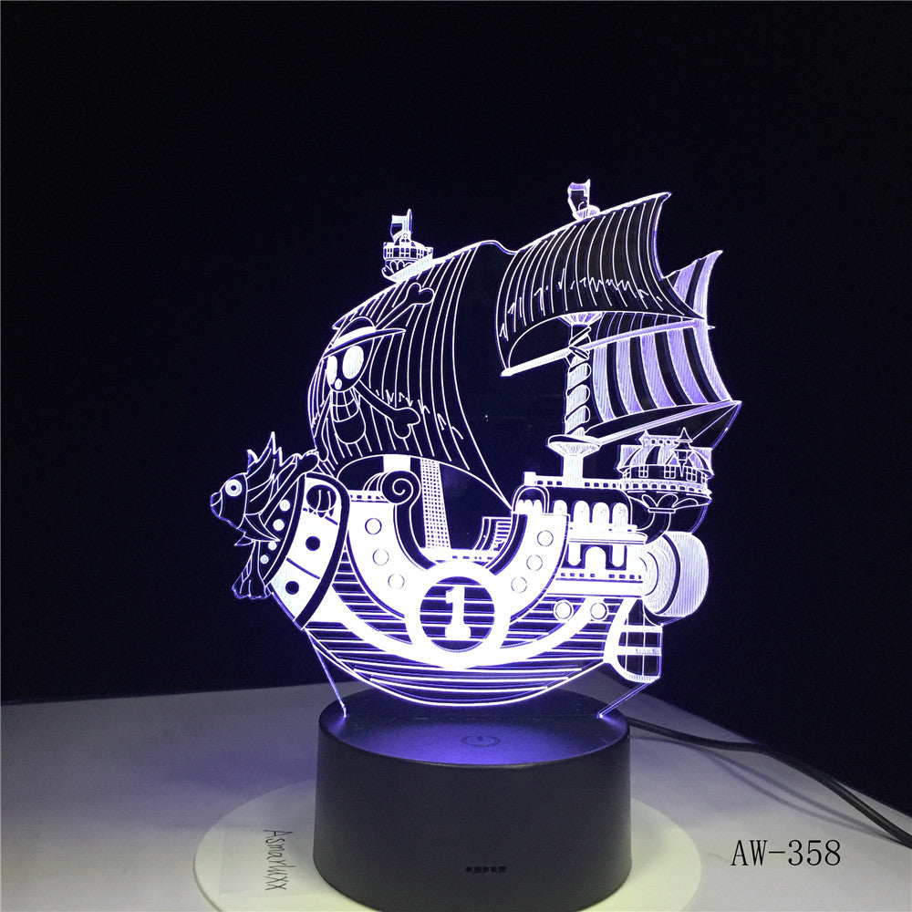 The Pirates Boat Ship LED 3D Night Light Acrylic 7 Color Changing USB 3D Table Lamp Illusion Baby Sleeping Lamp AW-358