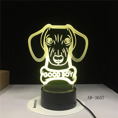 Hot 3D Night Lamp lovely Big Ears Dog Animal Cartoon 7 Color Change USB Desk Lamp Bedroom Light Friends Kids Birthday G AW-3657