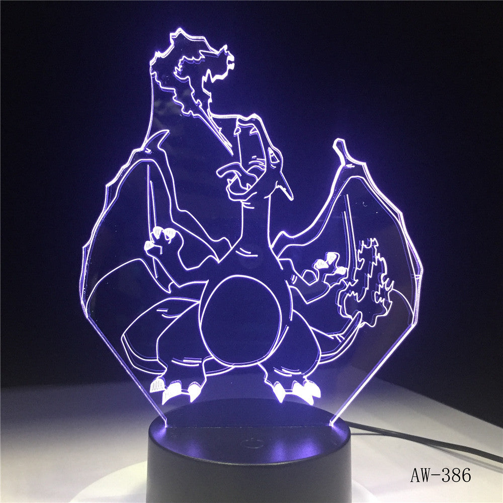 Novelty Cartoon Pokemon Charizard 3D Lamp USB Night Light Multicolor LED Lighting Bulb Luminaria Kid toy Christmas Gift AW-386