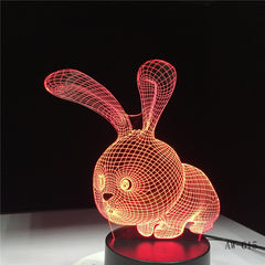 Novelty 3D Rabbit Shape Lamp Touch Sensor Light LED 7 Colors Remote Control Table Lamp Child Night Light as Gifts AW-615
