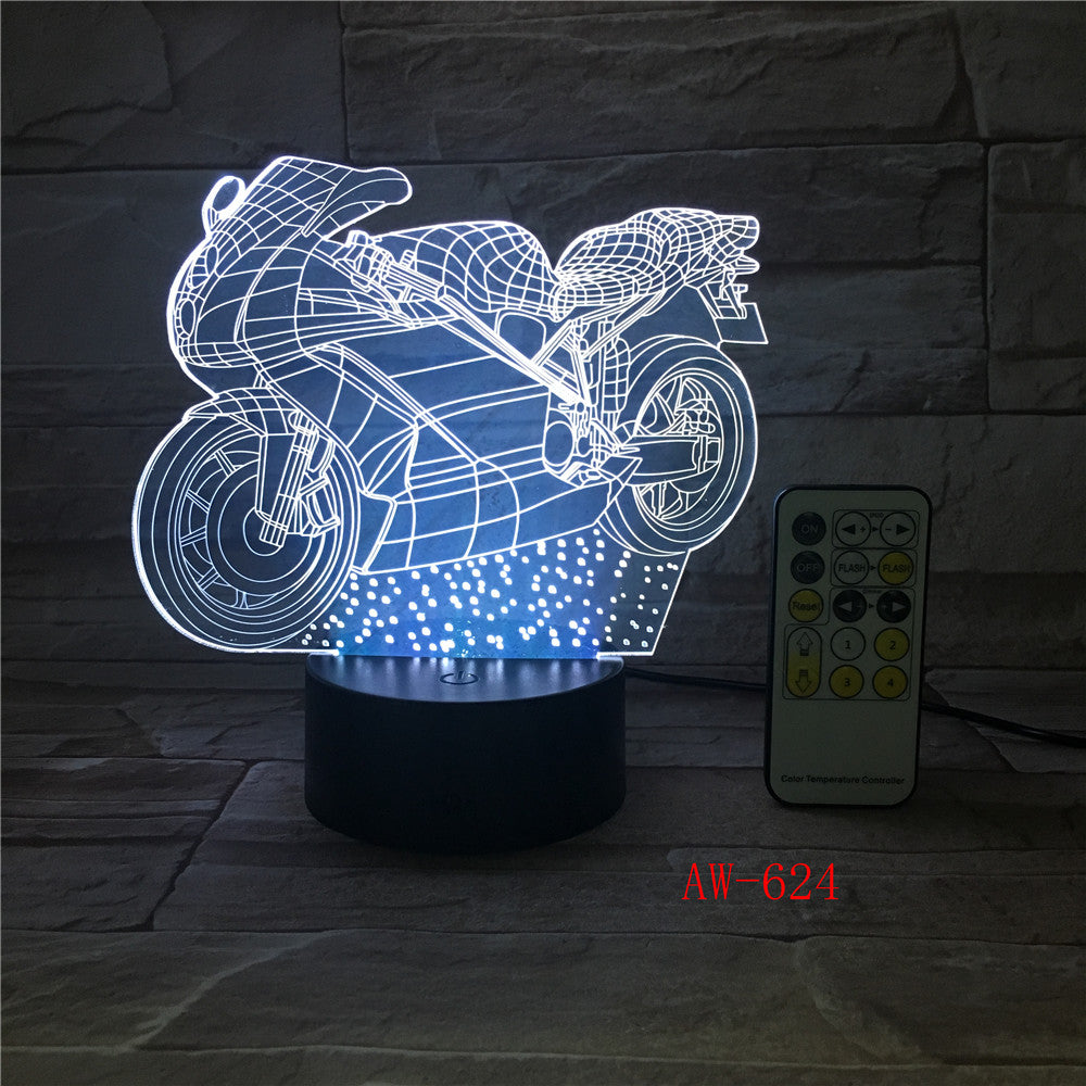 Motor 3D Led Light Novelty 3D Table Lamp 3D Motocross Bike shape Night Lights LED USB 7 Colors Changing lighting AW-624