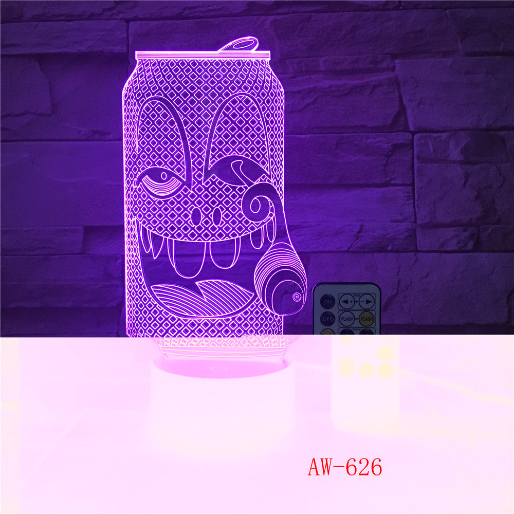 USB Acrylic Colorful Smoke Coke Expression Cartoon Night Light Bedroom Office LED Table Lamp Child Christmas Gift AW-626