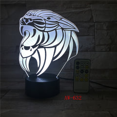 Cartoon Tiger 3D lamp LED stereo light Desk lamp touch and Remote Switch Colored lights Atmosphere lamp bedroom light AW-632
