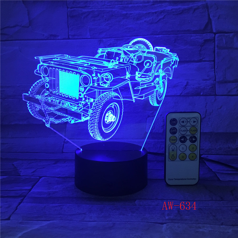 3D Dynamic Tractor Car Vehicle 7 Colors Changing USB Desk Table Lamp Remote Touch Base Kids Birthday Xmas Toy Car Gift AW-634