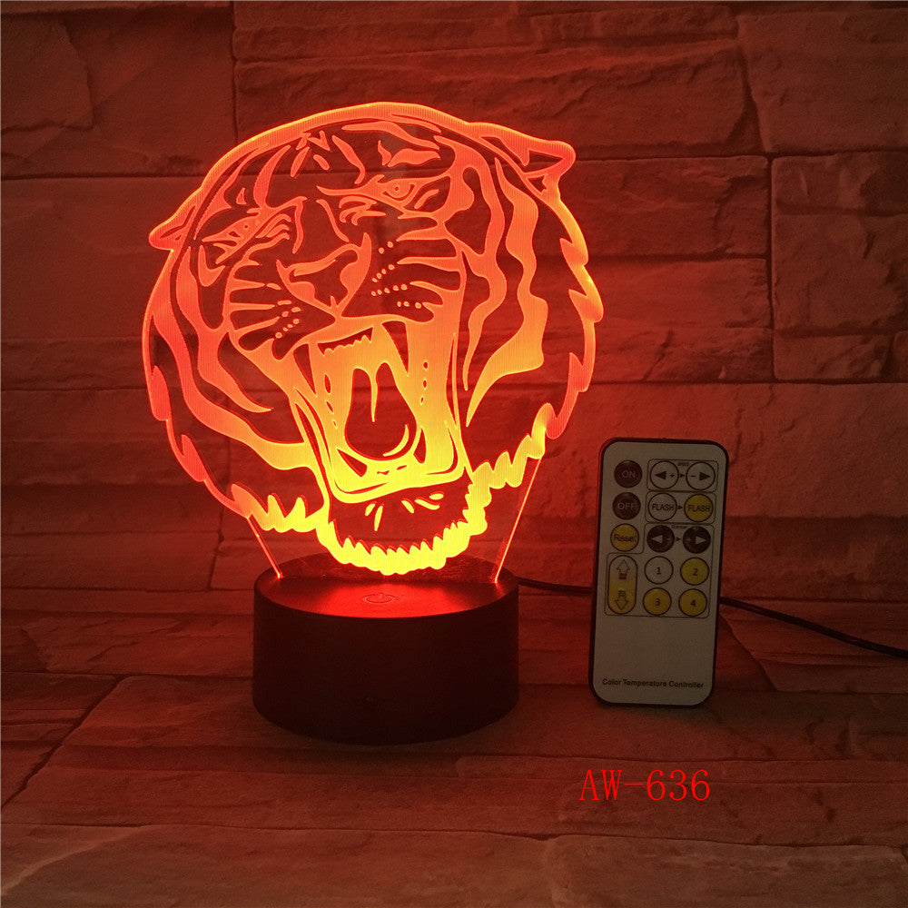 Tiger Christmas decorations gift for baby room lights Table Lamp For Bedroom Black base Lovely 7 color change Desk Lamp AW-636