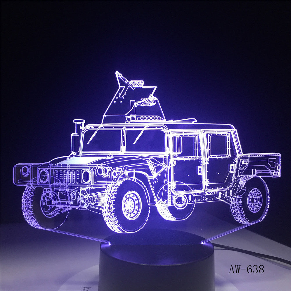 Creative RC model Tanks Night Light 3D Military Jeep Car Visual Lamp Colorful Bedside Lamp Best Gift for Kids Children AW-638