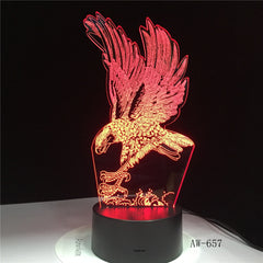 Eagle Lampe 3D Illusion Nightlight Colorful Hawk Touch Desk Light Bedside Lamp Acrylic Remote Light for Office Bedroom AW-657