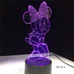 Mickey Minnie Mouse Cartoon 3D LED Night Light Novelty Table Desk Lamp Birthday Christmas Gift Child Kids Home Decor AW-814