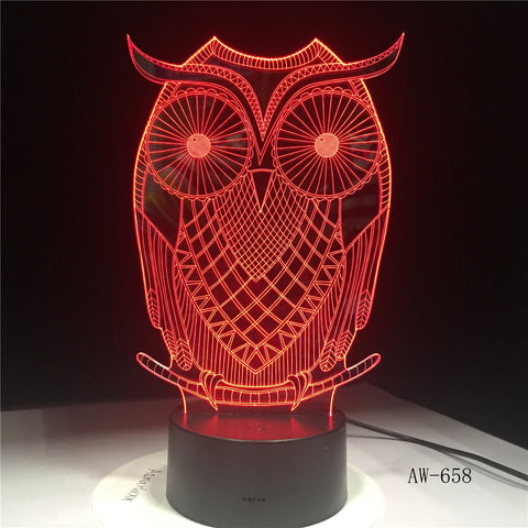 3D LED Night Lights Spiritual Owl with 7 Colors Light for Home Decoration Lamp Visualization Optical Illusion Awesome AW-658