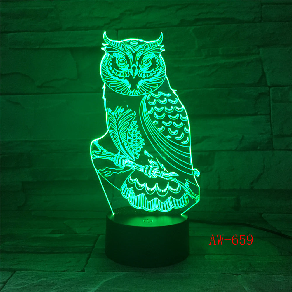 3D LED Night Lights Spiritual Owl with 7 Colors Light for Home Decoration Lamp Amazing Visualization Optical Illusion AW-659
