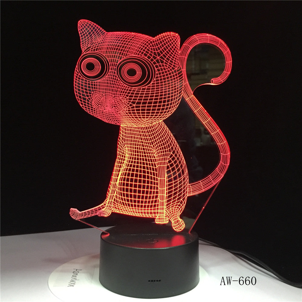 Cat 3D Night Light Animal Changeable Mood Lamp LED 7 Colors USB Illusion Table Lamp For Home Decorative As Kids Toy Gift AW-660