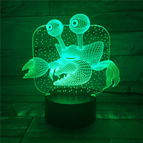 3D USB Children'S Bedside Sleep Led Decoration Creative Night Lights 7 Colors Visual Crab Table Lamp Lighting Fixtures AW-661