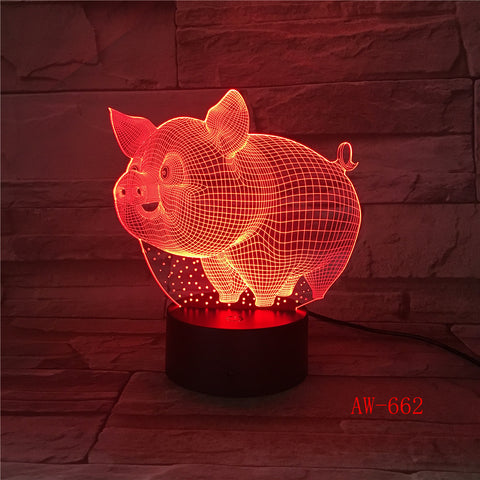 Pig 3D LED Night Light Remote Touch Control Colorful 5V USB Creative Acrylic Led Table Lamp Self Gifting Home Decor Gift AW-662