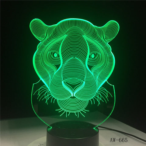 3D LED Night Lights Tiger 7 Colors Light for Home Decoration Lamp Amazing Visualization Optical Illusion Awesome Gift AW-665