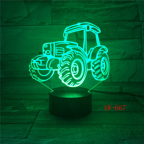 3D LED Night Light Dynamic Tractor Car with 7 Colors Light for Home Decoration Lamp Visualization Optical Illusion AW-667