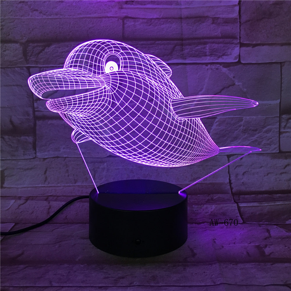 Marine Animal 3D Lamp Fish Dolphin Shark Visual Illusion Multicolor Gradient Night Light Home Decor Kids Holiday Gifts AW-670