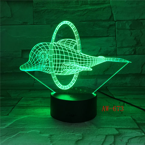 2019 Lovely Naughty 3D Dolphin Design LED Table Lamp with USB Cable NightLights as Children & Kids Gifts Dropshipping AW-673