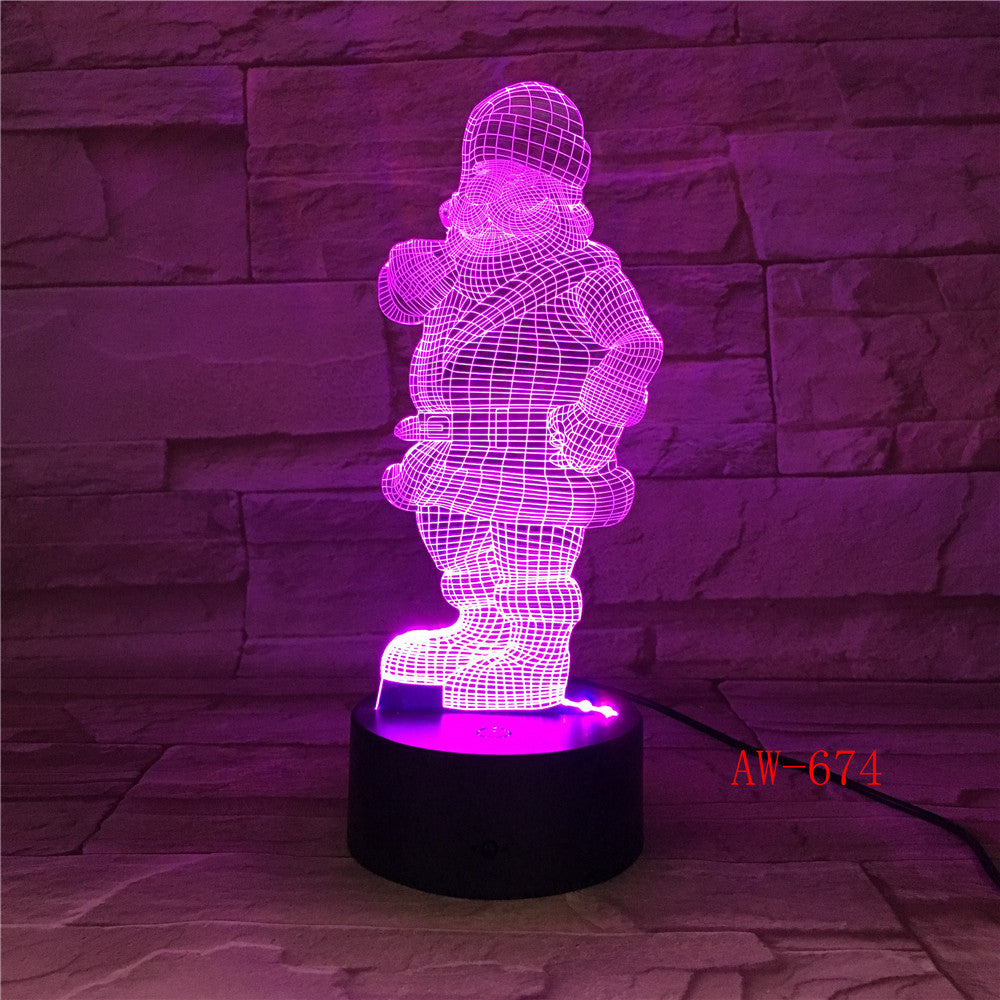 3D Stereoscopic Visual Creative Atmosphere of Santa Claus 7 Color Change Table Lamp Bedroom LED Night Light Dropship AW-674
