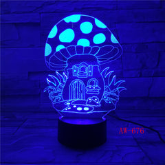 Fairy Mushroom House Illusion LED Nightlight 3D Colorful Mushroom Touch Lamp USB/Battery Powered Baby Sleep Lights Kids AW-676