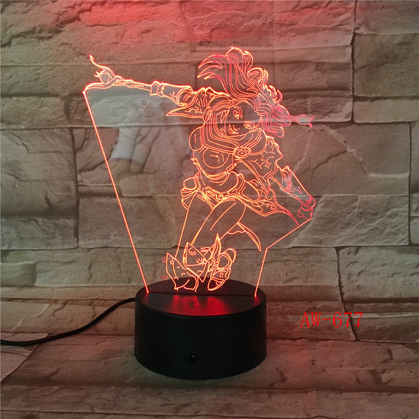 Wonder Woman 3D Night Light Color Changing Illusion Lamp Fantasy Birthday Gift