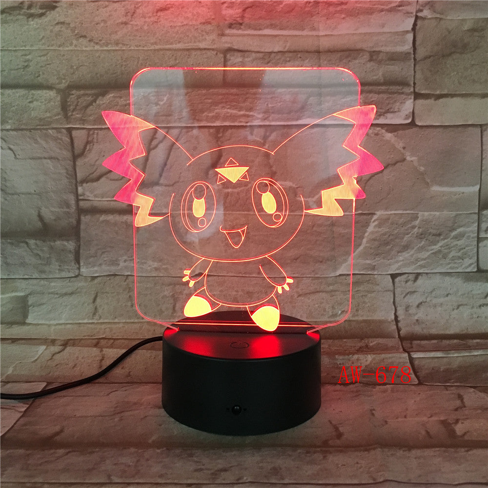 Pokemon Go Action Figure 3D RGB Lamp Pikachu Eevee Turtle Bird Fire Dragon Pokeball Ball Bulbasaur Bay Gift Night Light AW-678
