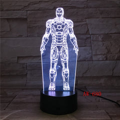 Ironman ColorS Changing 3D Led Nightlight Double Ironman 3D Table Lamp RGB USB LED Acrylic Decoration For Christmas Toy AW-680