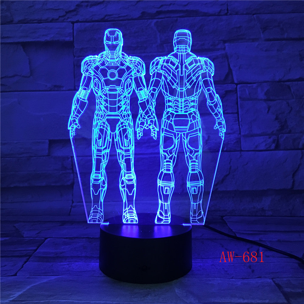 Ironman Action Figure 3D Led Night Light Super Hero Table Lamp Color Changing USB LED Acrylic Nightlight Decoration AW-681