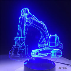 3D Excavator Night Light Illusion LED touch Table Lamp 7 Colors USB Novelty Car Shape Bedside Nightlight Lamps Boy Gift AW-682