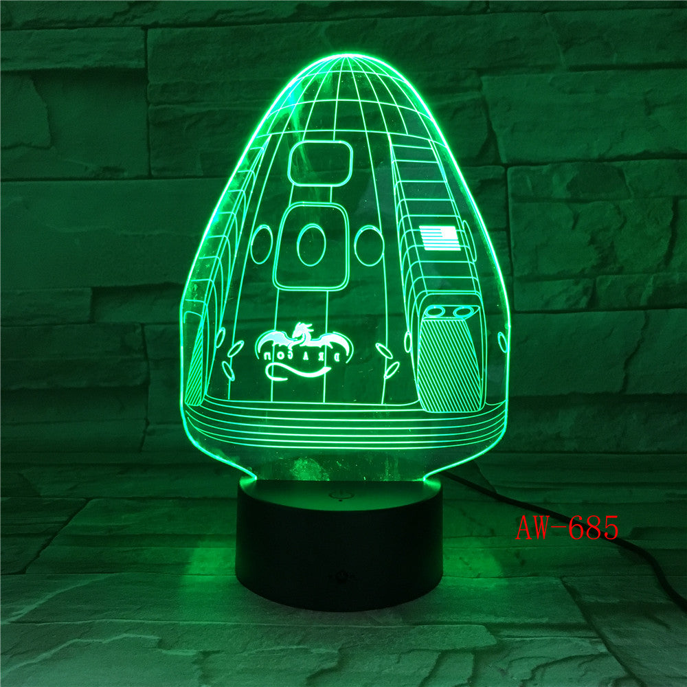 Dragon Space Capsule 7 Color Lamp 3d Visual Led Night Lights For Kid Touch Usb Table Lampara Lampe Sleeping Nightlight AW-685