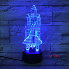 Spaceship 3d Small Night Light 7 Color Creative Aircraft 3d Visual Desk 3d Light Fixtures Led Usb Kids Lamp Dropshipping AW-686