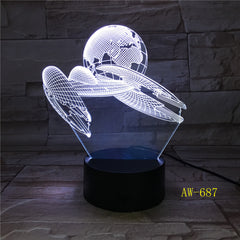 Colorful Changeable Mood LED Lamp 3D Led Spaceship Earth Space Desk Lighting Bedroom Bedside Decor Night Light Gifts AW-687