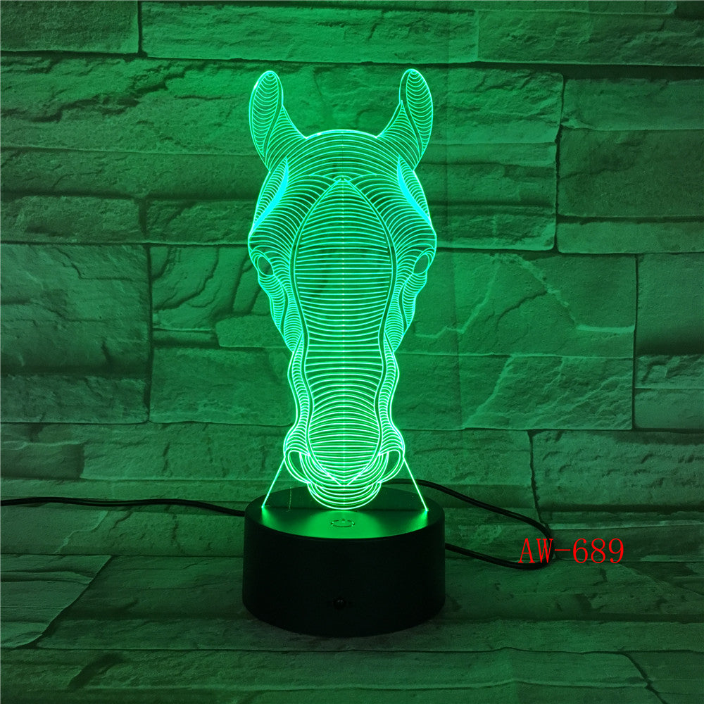 USB Novelty Gifts 7 Colors Changing Animal Horse LED Night light 3D Desk Table Lamp USB touch Baby Kid Sleeping Decorate AW-689